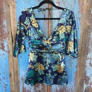 Guess Navy Floral Kimono Style Top